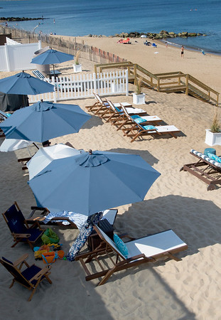 JIM VAIKNORAS/Staff photo View of the beach from on one of the balconies at Blue, The Inn on The Beach on Plum Island.