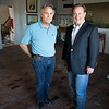 JIM VAIKNORAS/staff photo Ken Jackman and Michael Mroz in the Moseley Gallery at the Custom House in Newburyport. The two were instrumental in bringing El galeon to Newburyport.