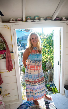 JIM VAIKNORAS/Staff photo Kim Richards on at her she shed on Plum Island .
