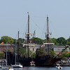 RYAN HUTTON/ Staff photo<br /> The Spanish tall sailing ship El Galeon pulls up to Newburyport harbor on Wednesday afternoon.