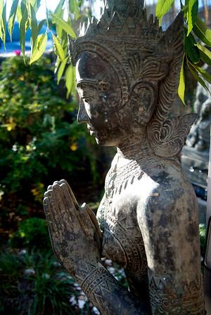 JIM VAIKNORAS/Staff photo A statue of the Hindu God Vishnu at Kim Richards she shed on Plum Island .