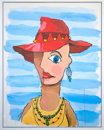 """JIM VAIKNORAS/Staff photo Ron's first post stroke painting """"Lady with Red Hat"""""""