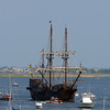 RYAN HUTTON/ Staff photo<br /> The Spanish tall sailing ship El Galeon pulls up into Newburyport harbor on Wednesday afternoon.