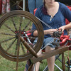 JIM VAIKNORAS/Staff photo  Jaclyn Falkowski of Eastford CT. spins yard at the Fiber Revival at the Spencer-Pierce-Little in Newbury.