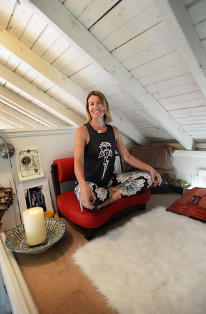 BRYAN EATON/Staff Photo. Kim Lively in her medition loft on Plum Island.