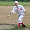 "JIM VAIKNORAS/Staff photo  Pat ""Blue"" Reilly pitches for Boston during an game of 1860's rules baseball at the Fiber Revival at the Spencer-Pierce-Little in Newbury."