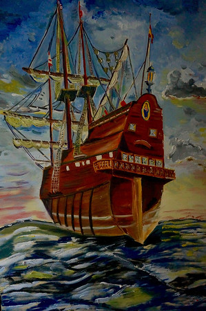 Oil on Canvas by Vivien Colon Labron one of the pieces of art for the El Galeon exibit at the Custom House this fall.