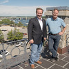 JIM VAIKNORAS/staff photo Ken Jackman and Michael Mroz on the roof of the Custom House in Newburyport. The two were instrumental in bringing El Galeon to Newburyport.