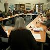 JIM VAIKNORAS photo.The NEF board meeting at the Newburyport High Library.