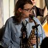 JIM VAIKNORAS/Staff photo  Noah Malonson on sax at the Pentucket Jazz Cafe .