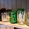 JIM VAIKNORAS/Staff photo Custom made glassed made from recycled bottles by Elizebeth Brugger of Newburyport for sale at Sage Design.