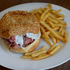JIM VAIKNORAS/Staff photo  A Large Roast Beef at Courtyard Roast Beef in Newburyport shown here with horse radish sauce and Fries, $6.75.