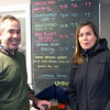 JIM VAIKNORAS/Staff photo Alex Campbell and Megan Shanley at the Riverwalk Brewery in Newburyport new brewery unvailing.