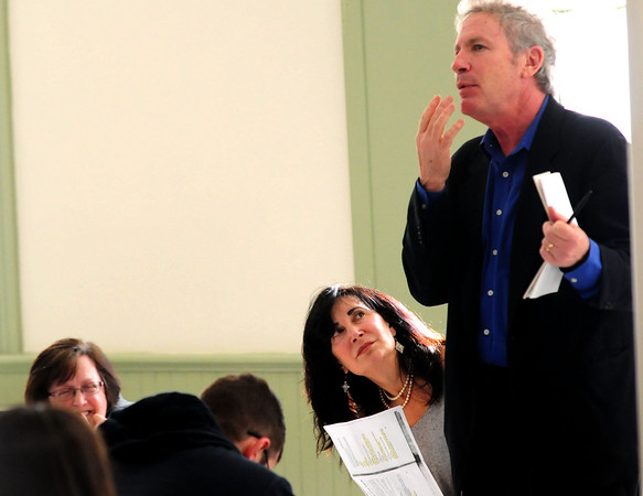 JIM VAIKNORAS/STaff photo Actor Steve Blackwood give note on a scene being performed by Maria Vitas and Maureen McDonald at a workshop at the Old South Church in Newburyport.