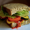 JIM VAIKNORAS/Staff photo The Roasted Veggie on multigrain at the Purple Onion<br /> Roasted red peppers, zucchini, & squash, boursin cheese,<br /> tomato, Romaine & balsamic vinaigrette. $8