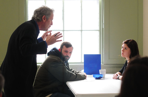 JIM VAIKNORAS/STaff photo Actor Steve Blackwood  works with Jeremy Labrie and Monica Ledoux at a workshop at the Old South Church in Newburyport.