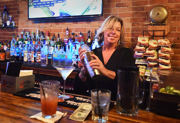 BRYAN EATON/Staff photo. Longtime Newburyport bartender, Leslie Hayes says the Whale has been one of her favorite places to work.