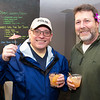 JIM VAIKNORAS/Staff photo <br /> Joe DiBiase, and Gregg Ogden both of Newburyport enjoy a drink at the House Bear Brewing's grand opening celebration