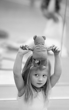 Grace Pouliot uses a bear in her dance class. The kids use the bears to help learn balance and arm position.