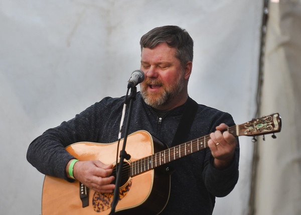 JIM VAIKNORAS/Staff photo Doug Baker performs at the WE=NBPT festival at the Tannery in Newburyport Saturday.