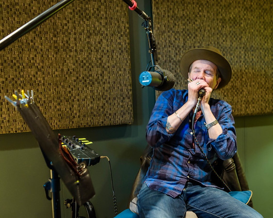 """ERIC SMITH photo  Justin Quinn in the studio recording his blues album  """"Lazy by Nature""""."""