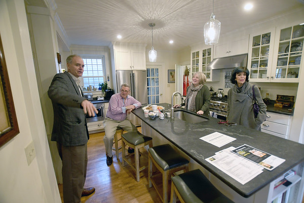 JIM VAIKNORAS/Staff photo William Peirce reminisces about his grandfather artist Waldo Peirce house with current owners Bill and Diane Pinakiewicz along with his aunt Julie Cairol, who is the daughter of cartoonist Al Capp.