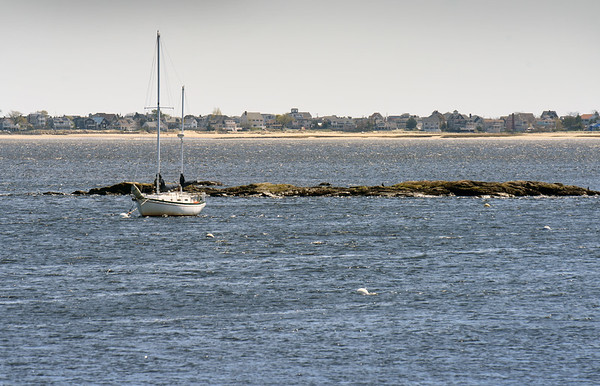 BRYAN EATON/Staff photo. Half Tide Rocks in the Merrimack River at Newburyport Harbor where guarantined ships would anchor.