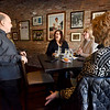 BRYAN EATON/Staff Photo. Epstein chats with first time customers from Worcester, from left, Karen Jones, Allison Hall and Donna Chesna.
