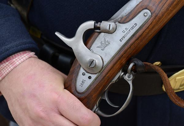 JIM VAIKNORAS/Staff photo Bill Hallet holds his Springfield rifle
