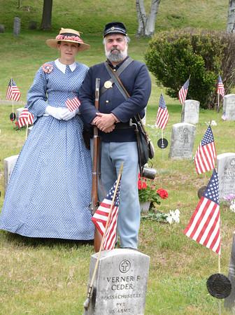 JIM VAIKNORAS/Staff photo  Liz and Bill Hallett in Veteran's cemetary in Newburyport.