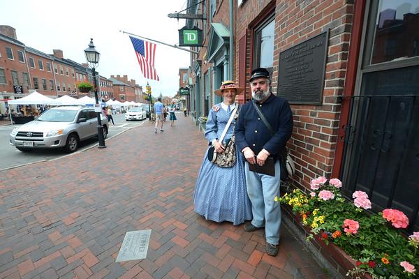JIM VAIKNORAS/Staff photo Liz and Bill Hallett at the Grand Army Building on State Street in Newburyport.