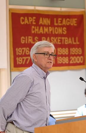 JIM VAIKNORAS/Staff photo Honoree Neil Reardon speaks at the Show Your S'Port ceremony at the Newburyport  Senior Center.
