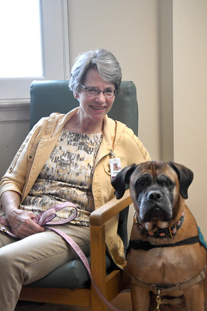 JIM VAIKNORAS/Staff photo Claire Pettegrew poses with Micah at the Anna Jaques Hospital.