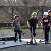 JIM VAIKNORAS/Staff photo Kids wait on the rim of the big bowl at Newburyport Skate Park.