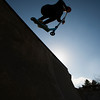 JIM VAIKNORAS/Staff photo Jimmy Gore 14, ride his razor scooter in the late afternoon at the Newburyport Skate Park.