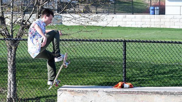 JIM VAIKNORAS/Staff photo Ben Quintal flips his board at Newburyport Skate Park.