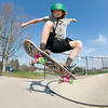 JIM VAIKNORAS/Staff photo Griffin Houlihan, 12, of Newbury flies out of on of the bowls at Newburyport Skate Park.