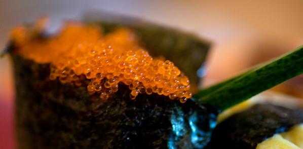 JIM VAIKNORAS/Staff photo Fish roe, part of  Sushi A set at Hanna Japan in Newburyport.
