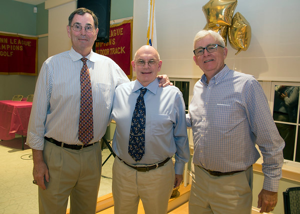 JIM VAIKNORAS/Staff photo Honorees Kevin Lucy, Michael Barry, and Neil Reardon at the Show Your S'Port ceremony at the Newburyport  Senior Center.