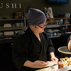 JIM VAIKNORAS/Staff photo Kosuke Takahashi owner of Hanna Japan in Newburyport makes sushi.