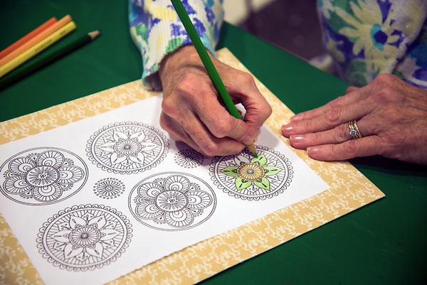 JIM VAIKNORAS/Staff photo Eldeen Suda of Newburyport at adult coloring at the Newburyport Library.