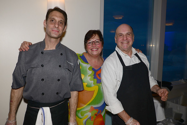 JIM VAIKNORAS/Staff photo Joe Messina and Ted Epstein of the restaurant Loretta and Esther Sayer at the Anna Jaques Aid Association Chef's Night at Blue Ocean in Salisbury.