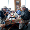 BRYAN EATON/Staff Photo. Stopping into Bob Lobster from a morning of bird watching at Parker River National Wildlife Refuge, from left, David Williams of Reading, Jane Gerry of Brookline, Carol Jorgenson of Hyde Park and Mark Nelson of Reading.