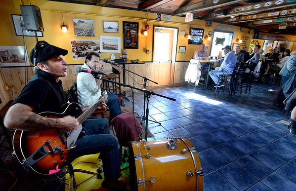 BRYAN EATON/Staff Photo. Charle Farr, left, and Jason Novak of Dark Horse Ramblers on a recent Sunday afternoon.