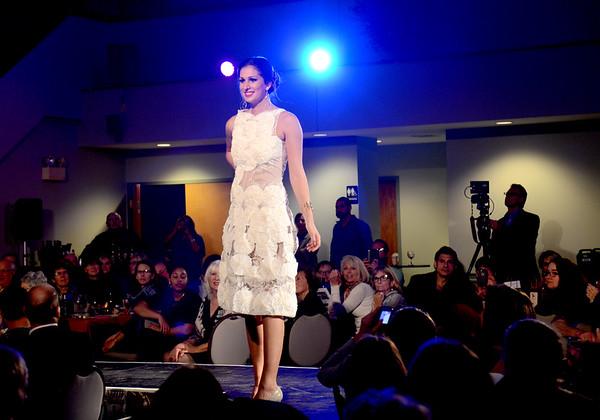 JIM VAIKNORAS/Staff photo Emma Kawski models Innocence by Marielle Nicoloro  Rubbish to Runway Refashion show at Nicholson Hall in Newburyport