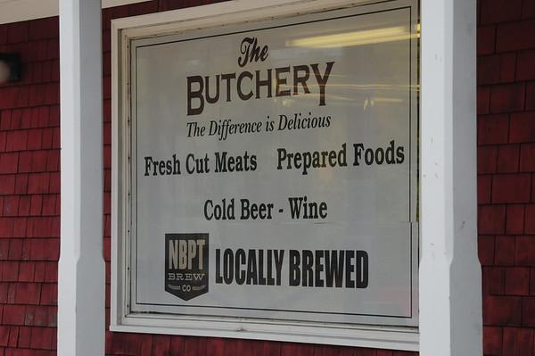 JIM VAIKNORAS/staff photo Sign at The Butchery in Newbury