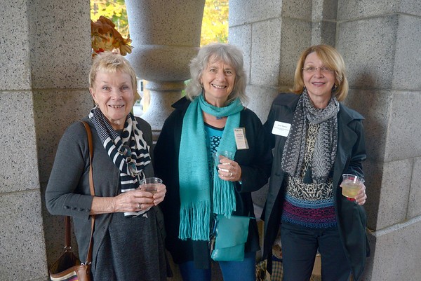 JIM VAIKNORAS/Staff photo Shaila Bridgeland of Dingo Creative, Rebecca Wish Esche of the Emma Andrews Library,and Karen Sherman of the Newburyport Olive Oil Company  at the Chamber Mixer at Oak Hill Cemetary.