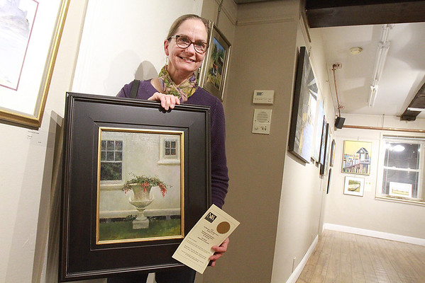 Pam Perras won an Honorable Mention, for her oil painting at the Fall Members Juried Show Saturday, October 15, at Newburyport Art Association. Photo by Nicole Goodhue Boyd