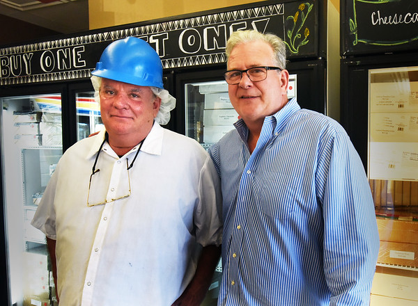 BRYAN EATON/Staff photo. Joe Mansfield, left, and Kevin Griffin have worked together in the baking business for years, Table Talk in the past, and are together again at Dianne's Fine Desserts.