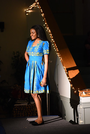 JIM VAIKNORAS/Staff photo Rose models an Africa print dress at the Masskenya Annual African Dinner & Cultural Night Fundraiser at Nicholson Hall in Newburyport.